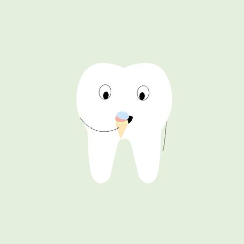 Comic-Zahn mit Eis vor einem mint-farbenem Hintergrund.